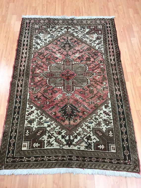 "3'9"" x 5'7"" Antique Persian Heriz Oriental Rug - 1940s - Hand Made - 100% Wool"