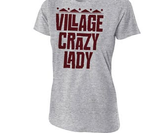 "Moana - ""Village Crazy Lady"" - Moana T-Shirt - Moana Quote T-Shirt - Gray Women's Fitted T-Shirt"