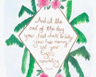 Watercolor art, palms, flowers, pink, inspiring quote