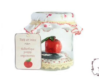 """Authentic poisoned apple in snow white, sculpture of whole Apple in a decorated jar. """"Make a wish"""" version whole Apple"""