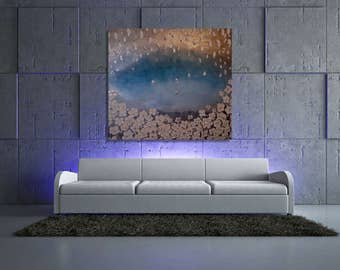 Turquoise Wall art deco tree painting abstract oil painting. Metallic modern artwork, Extra large painting on canvas, house decor
