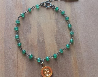 Green Onyx Gemstone Rosary Bead and 18K Gold Dipped Shiny Om Charm Adjustable Oxidized Sterling Silver Chain Bracelet