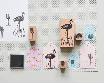 Flamingo stamps, scrapbooking stamps, Monstera stamps, cactus stamps, coconut stamps
