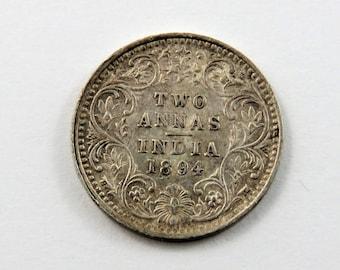 India-British 1894 Silver 2 Annas Coin.