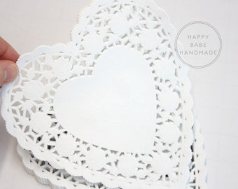 25 or 50, White Heart Doilies, 6 Inch, White Lace Doilies, Lace Paper Doilies, White Doilies, Paper Heart Doilies, White Wedding Decor