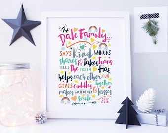 Personalised Family Rules Sign - Personalised Family Rules Print - Family Tree Print - Gift For Mum - Gift For Granparents - Family Wall Art