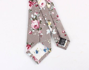 "Taupe-Less Floral Skinny Tie 2.36""   -  floral ties, Floral skinny ties, prom, wedding , gift, Vintage, retro, gifts for him, anniversary"