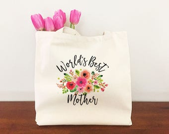 Mother's Day Gift - Tote Handbag for Mom - Worlds Best Mom - Gift for Mom - Personalized Gift for Mom - Custom Gift for Mom