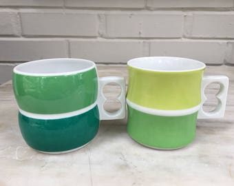 vintage Block Chromatics Blue Green mugs, set of two coffee cups, made in Germany, 21615 and 22019, 1970s