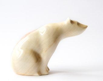 Wooden Polar bear Statue, Wooden Polar bear Figurine, Wood Carving, Hand Carved, Wooden Statue, Wooden Figurine