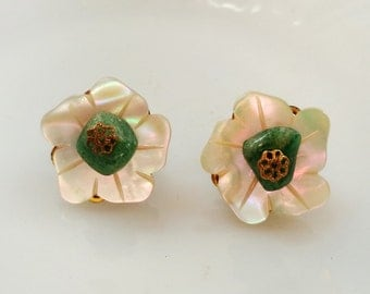 Signed Miriam Haskell Earrings Carved MOP Green Stone Filigree Earrings Clip on Earrings