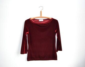 Vintage Australian Burgundy Red Velvet Top by Equipment with 3/4 Length Sleeves