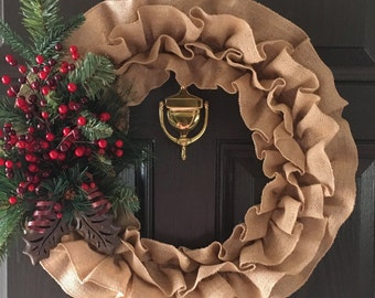 Ruffle Christmas Wreath, Burlap Wreath, Holly Wreath, Winter Wreath, Holiday Wreath, Christmas Wreath
