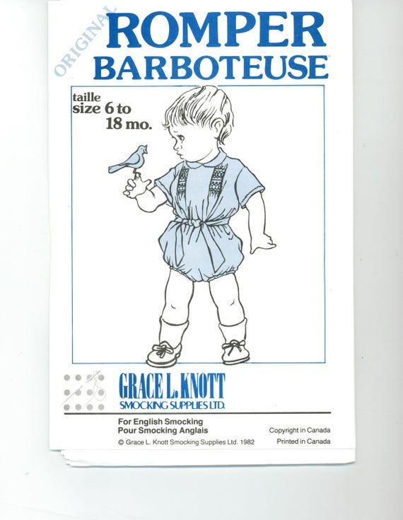 Original Baby Romper pattern, Grace L. Knott, heirloom, smocking,pleating, Smocking dots, iron dots