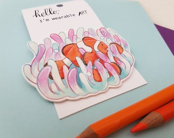 Clown Fish Brooch in Anemone Garden, Hand Made Shrinky Pin, Bright Coral Reef, Cute Sweet Marine Underwater Sea Gift Accessory Badge