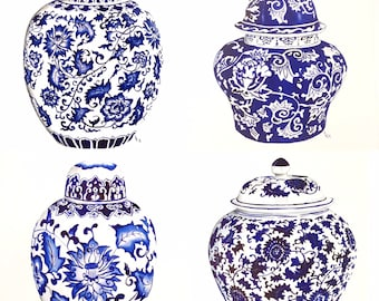 Ready to hang set of blue and white ginger jar art prints.