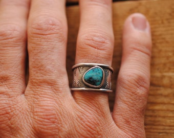 Large Stamped Turquoise Ring | Size 10