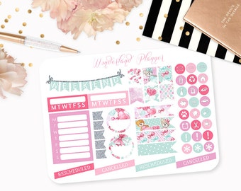 Teddy Bears - Love Heart Planner Stickers // Icons, Banners + Flags // Perfect for Erin Condren Vertical Life Planner