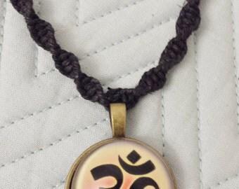 Ohm Pendant Black Hemp Necklace