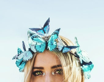 Aquamarine Dream Butterfly Crown, Flower Crown, Woodland Wedding, butterfly headpiece, butterfly headband, fascinator