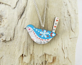 Blue Folk Bird Necklace