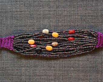 Multi-colored Beaded String Bracelet w/ Button Closure