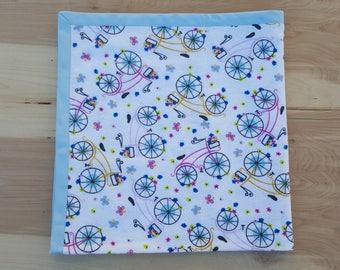 Bicycle Flower Baby Blanket - Receiving Blanket - Lightweight Flannel