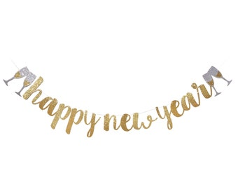 Happy New Year Banner | New Years Eve Decoration | New Years Eve Party 2018 | Happy New Year Sign Silver | Gold Glitter Garland Decor 2018