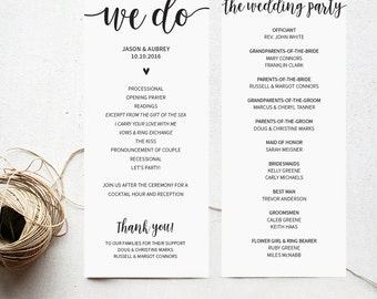 Printable wedding ceremony program, instant download, editable text PDF, customizable wedding program