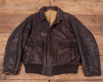 "Mens Vintage A2 Style Lined Flight Aviator Bomber Jacket Brown L 44"" R5466"