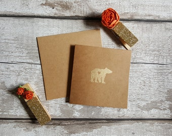Baby Bear Greeting Card, Blank Inside, Baby Shower Card, Card For Her, Birthday Card, Love Card, Kraft Card, Embossed Card, Gold