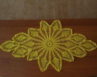 yellow crochet doily