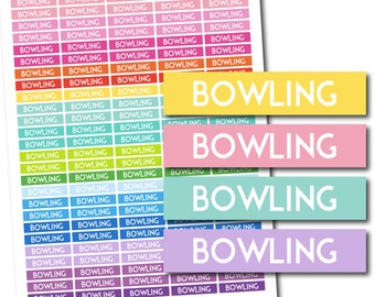 Bowling stickers, Bowling planner stickers, Bowling printable stickers, Bowling weekly stickers, Bowling monthly stickers, STI-708