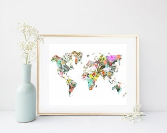 World Map, Printable Map, Floral Map, Art Print, Printable Art, Colorful Map, Home Decor,  Wall Decor, Instant  Download