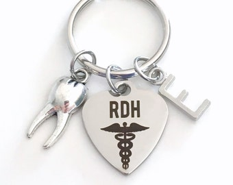 Dental Hygienist Gift for RDH Keychain, Registered Key chain for Dental Student Grad Graduation Keyring Tooth charm initial letter silver
