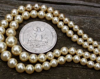 50's, Faux Pearl, Double Stranded Necklace, Faux Pearl Necklace, Imitation Pearl Necklace, Vintage Faux Pearls, Double Stranded Pearls