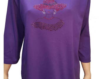 Red Hat Society fashion t-shirt with a sophisticated flair. Pretty design on purple cotton poly shirt.