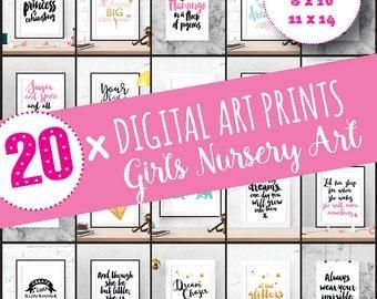 Nursery wall art set, Girl nursery wall decor, nursery print set, Wall art for girls room, Printable nursery art | SET OF PRINTABLES x 20