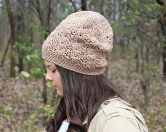 Slouchy Hat, Slouchy Beanie, Beige Slouchy Hat, Crochet Hat, Winter Hat, Women's Hat,Slouch Hat,Beige Beanie,Hipster Beanie,Tan Hat