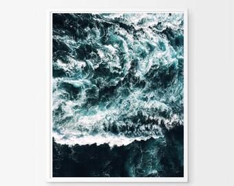 Waves art Print, Ocean Art, Water Minimalist Poster Nautical Beach Decor Scandinavian print Nordic Wall art Blue and White Blue Sea Waves