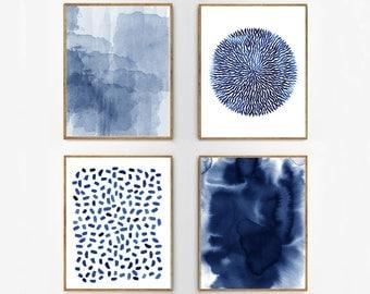 Abstract Watercolor Set Indigo Blue Wall Art Large Navy Prints Minimalist  Art Minimal Contemporary Modern Art