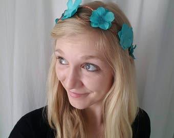 Light Blue Flower Crown, Blue Flower Tiara, Blue flower headband, Aqua Flower Crown, Blue Flower Head Wreath, Blue flower headpiece