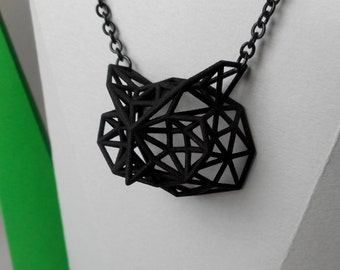 Black Owl - 3D printed jewel in nylon - pendant with chain -  wireframe style -