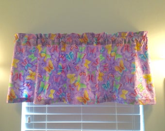 Butterfly Window Valance-Butterfly Decor-Butterflies-Garden-Nature-Purple-Pink-Blue-Yellow-Orange-Green-Spring