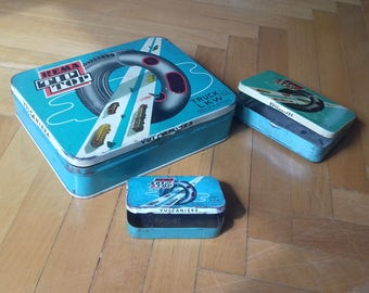 Set of 3 vintage tin boxes-Rema Tip Top-vulkanizer tire repair