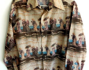 Rare 1970s Collectible Julien Dupre Famous Painters Art Painting Disco Polyester Photo Print Men's Shirt Medium
