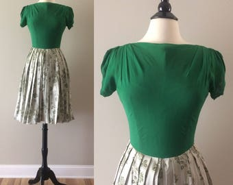 Vintage Late 1940s Kelly Green Chiffon Top with Rose Print Satin Pleated Skirt Dress with Ruched Sleeves