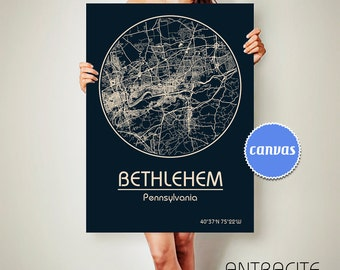 BETHLEHEM Pennsylvania CANVAS Map Bethlehem Pennsylvania Poster City Map Bethlehem Pennsylvania Art Print Bethlehem Pennsylvania ArchTravel