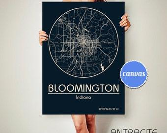 BLOOMINGTON Indiana CANVAS Map Bloomington Indiana Poster City Map Bloomington Indiana Art Print Bloomington Indiana ArchTravel