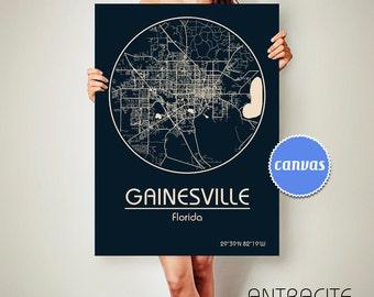 GAINESVILLE Florida CANVAS Map Gainesville Florida Poster City Map Gainesville Florida Art Print Gainesville Florida